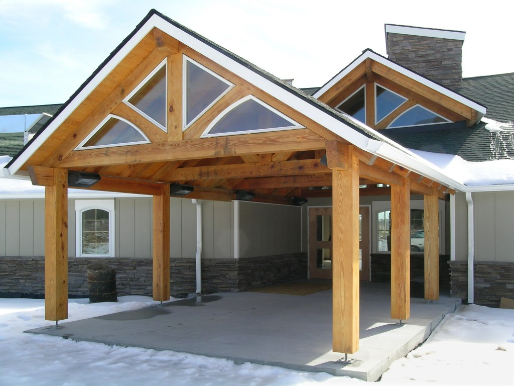 The timber-framed entrance way outside of the Whitetop Community Center.